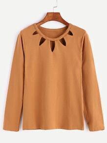 Khaki Cut Out Front Long Sleeve T-shirt