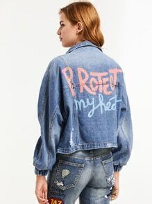 Blue Letter Print Batwing Sleeve Ripped Denim Jacket