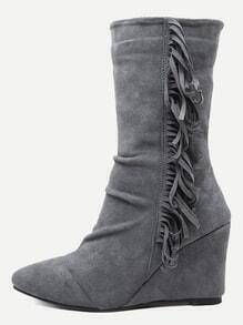 Grey Suede Almond Toe Fringe Side Mid Calf Wedge Boots