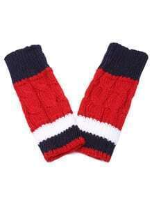 Red Contrast Striped Fingerless Cable Knit Gloves