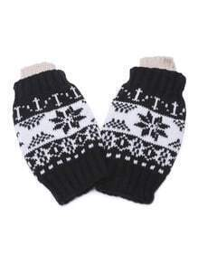 Black Snowflake Fingerless Ribbed Knit Gloves