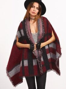 Oversized Burgundy Striped Eyelash Fringe Shawl