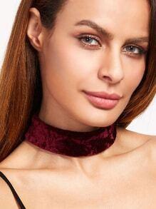Burgundy Lace Back Velvet Choker