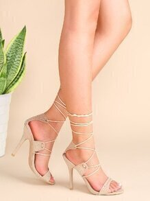 Apricot Studded Lace Up Heeled Sandals