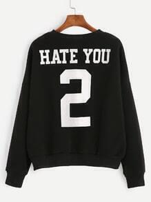 Black Number Print Back Drop Shoulder Sweatshirt