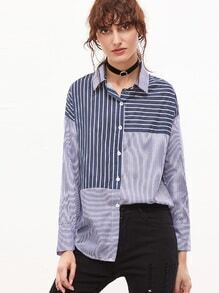 Contrast Striped Dropped Shoulder Seam Button Blouse