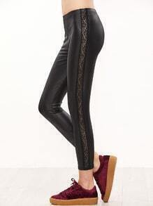 Black Lace Insert Side Faux Leather Leggings