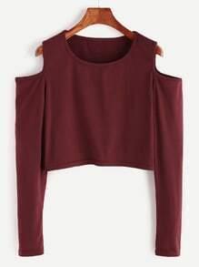 Burgundy Open Shoulder Crop T-shirt