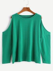 Green Open Shoulder Loose T-shirt