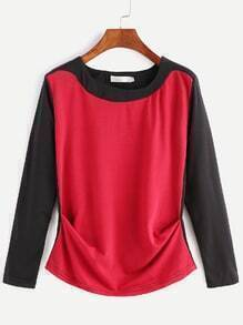 Contrast Fold Front Long Sleeve T-shirt