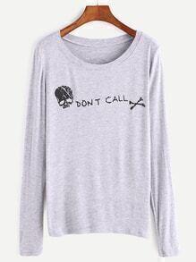 Light Grey Skull Print T-shirt