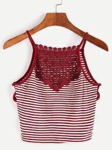 Burgundy Striped Contrast Crochet Crisscross Side Crop Cami Top