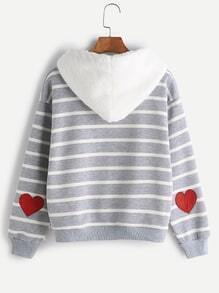 Striped Sleeve Heart Patch Pocket Sweatshirt With Fuzzy Hood