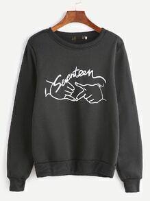 Black Gesture Print Sweatshirt
