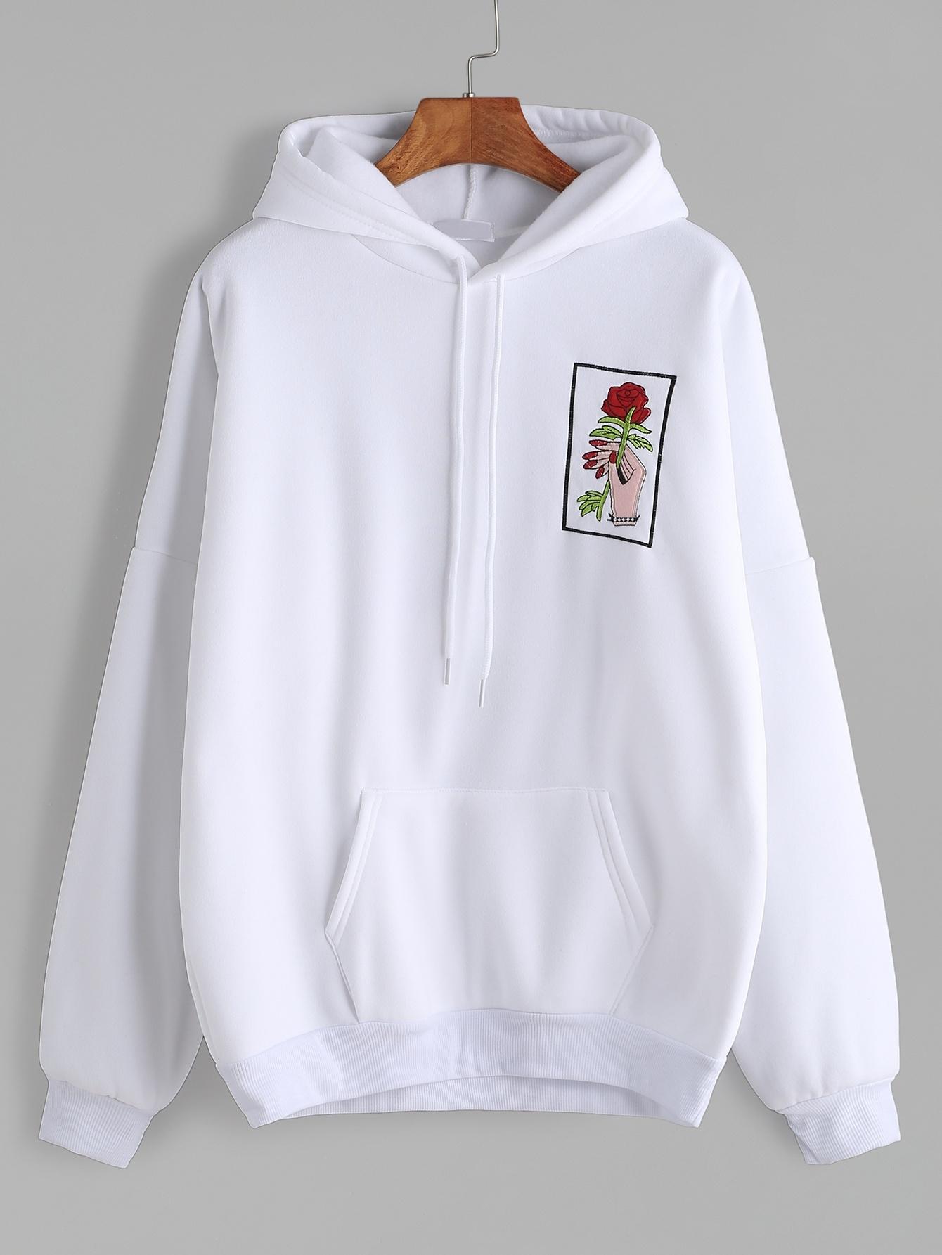 White Drop Shoulder Hand Rose Embroidery Hooded Pocket ...