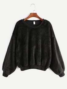 Black Dropped Shoulder Seam Fuzzy Sweatshirt