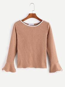 Khaki Contrast Trim Ruffle Sleeve Ribbed Knitwear