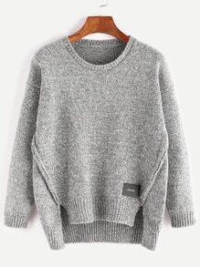 Grey Dip Hem Slit Patch Detail Sweater