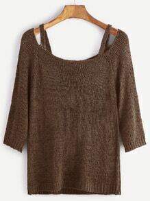 Cut Out Scoop Neck Tight Sweater