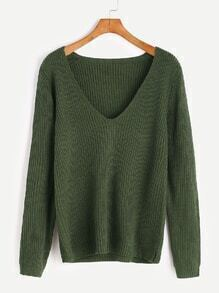Army Green V Neck Casual Sweater