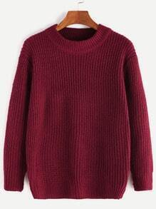 Burgundy Long Sleeve Basic Sweater