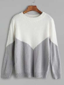 Grey Contrast Ribbed Trim Sweater