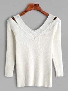 White Open Shoulder Ribbed Tight Knitwear