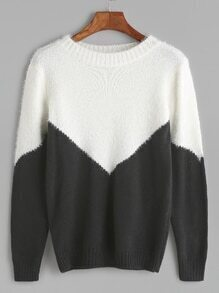 Black Contrast Ribbed Trim Sweater