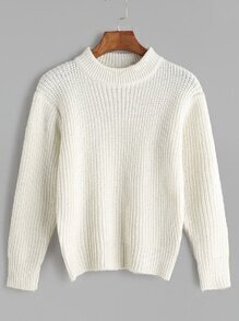 White Long Sleeve Basic Sweater