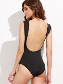 Black Backless Long Sleeve Bodysuit