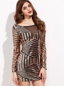 Contrast Mesh Open Back Sequin Bodycon Dress