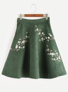Army Green Flower Embroidered Suede A-Line Skirt