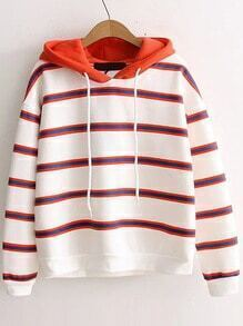 Red Striped Hooded Casual Sweatshirt