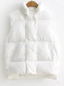 White Stand Collar High Low Padded Vest