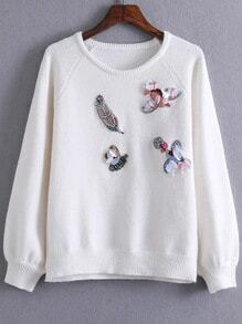White Embroidery Raglan Sleeve Sweater With Sequin