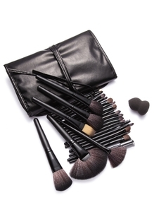 24Pcs Black Professional Makeup Brush Set with Leather Bag