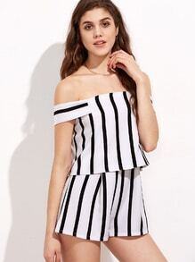 Black and White Stripe Off The Shoulder Short Jumpsuit