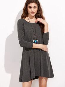 Vestido cuello redondo casual -gris