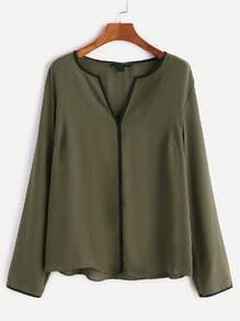 Army Green V Cut Neck Piping Detail Blouse