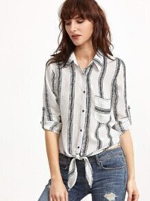 White Vertical Striped Knot Front Pocket Blouse