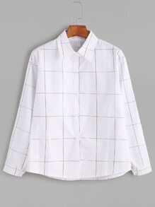White Grid Button Shirt