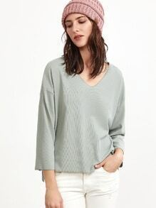 Pale Green V Neck Drop Shoulder Dip Hem T-shirt