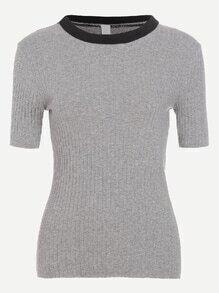 Grey Contrast Collar Ribbed Tight T-shirt