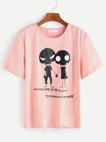 Pink Cartoon Print Casual T-shirt