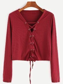 Burgundy Lace Up Front Ribbed Crop T-shirt