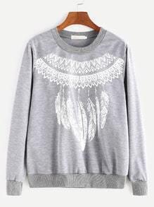 Light Grey Tribal Print Sweatshirt
