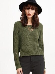 Army Green Hollow Split Side Sweater