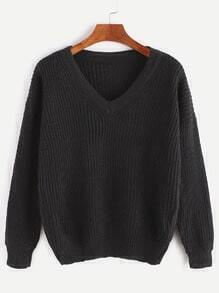 Black V Neck Dropped Shoulder Seam Sweater