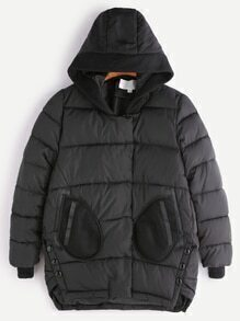 Black High Low Mesh Patch Pocket Hooded Padded Coat