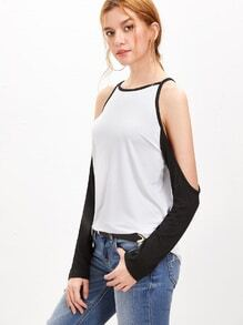 White Contrast Raglan Sleeve Cold Shoulder T-shirt